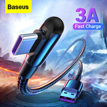 Baseus USB Type C Cable 90 Degree 3A Fast Charging Charger for Xiaomi Mi 10 9 Samsung S20 Type-C Data Cable USB-C USBC Wire Cord