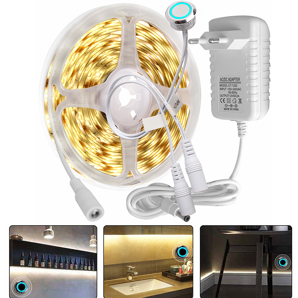 1M/2M/3M/4M/5M LED Under Cabinet Light Dimmable LED Strip Kitchen/Wardrobe/Closet Light 12V Touch Sensor Switch Bedroom Lighting