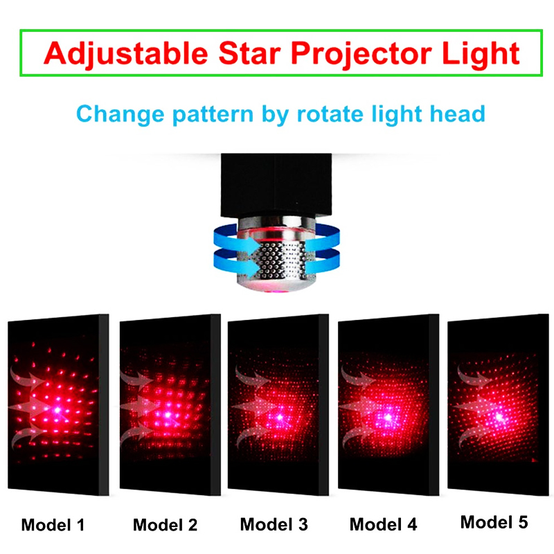 T50 Star Projector Night Light USB Car Atmosphere Lamp Adjustable Flexible Home Ceiling Decoration Light Celebration Parties