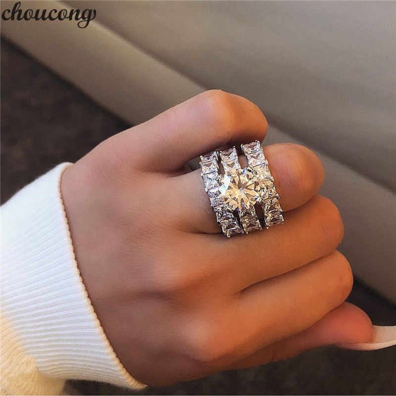 Choucong 3-in-1 Verklaring Ring sets 925 Sterling Zilver Princess cut AAAAA cz Engagement Wedding Band Ringen voor Vrouwen Sieraden