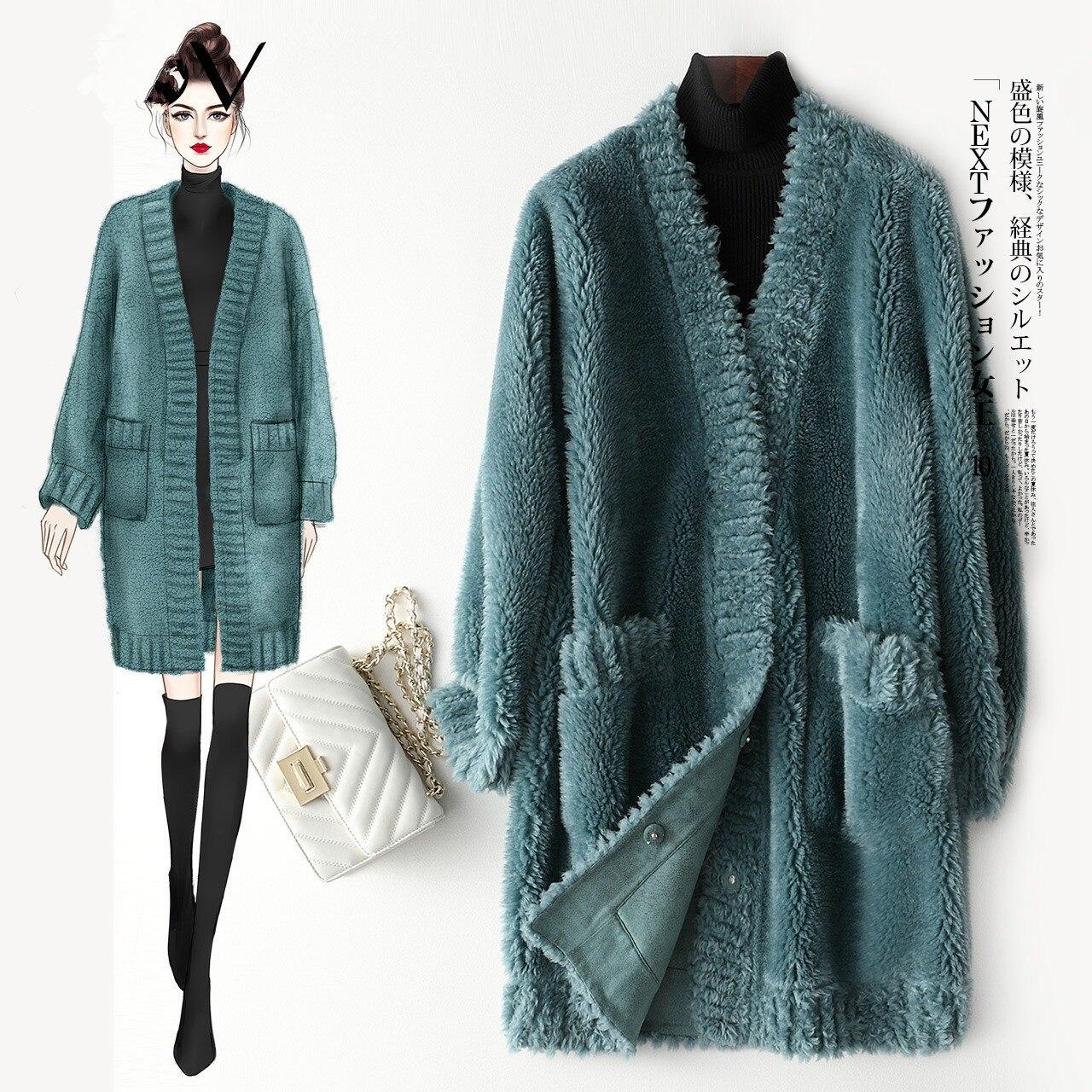 Sheep Real Shearling Fur Coat Female Wool Coats Winter Jacket Women Korean Long Jackets For Women Outwear Veste Femme MY S S