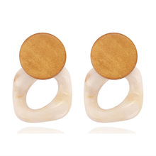 opal  rose gold earrings wedding womens Net red geometric wooden stitching jewelry E3729
