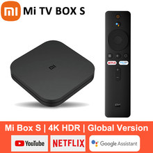 Original xiaomi mi caixa de tv s 4k android 8.1 hdr 2g 8g wifi bt4.2 google elenco netflix caixa de tv inteligente media player versão global
