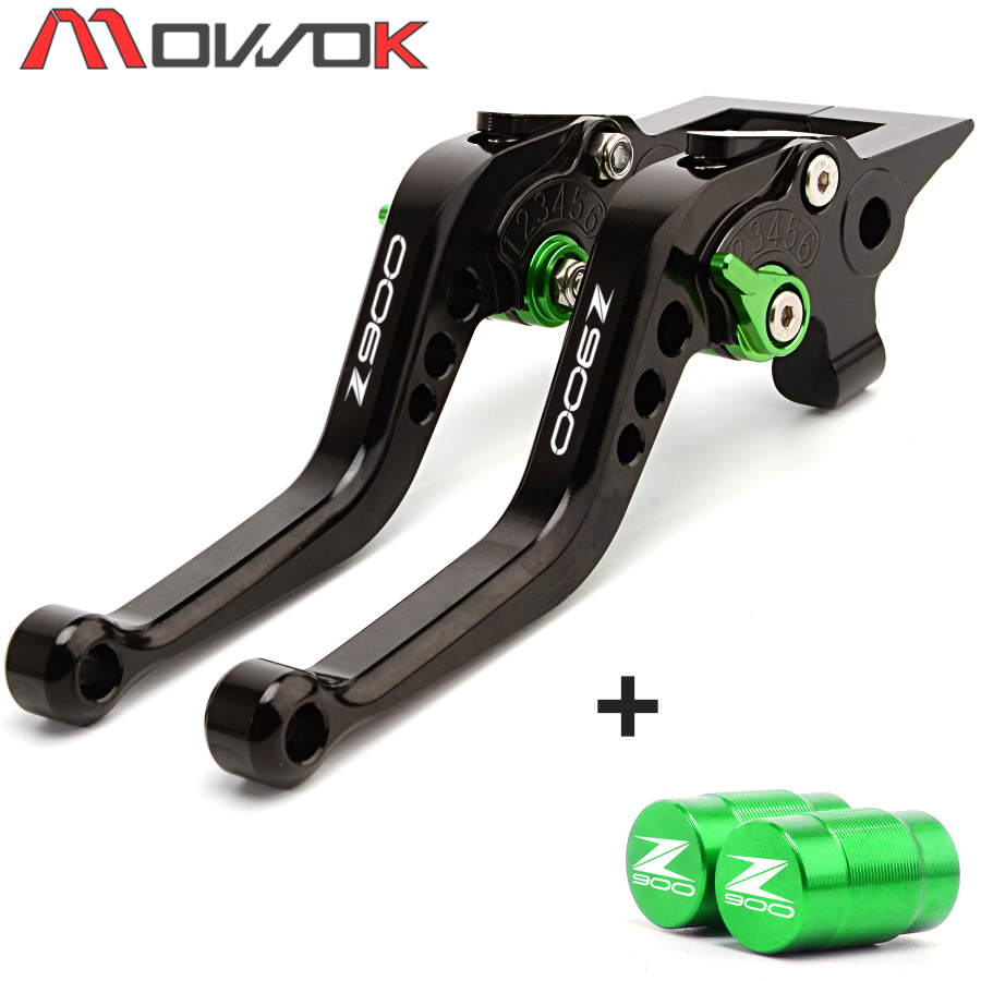 Adjustable Motorcycle Short Brake Clutch Levers & Tire Valve caps Cover For <font><b>KAWASAKI</b></font> Z900 <font><b>Z</b></font> <font><b>900</b></font> 2017 2018 <font><b>2019</b></font> image