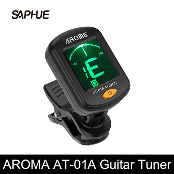 AROMA AT-01A Guitar Tuner Rotatable Clip-on Tuner LCD Display for Chromatic Acoustic Guitar Bass Ukulele Black Guitar Parts