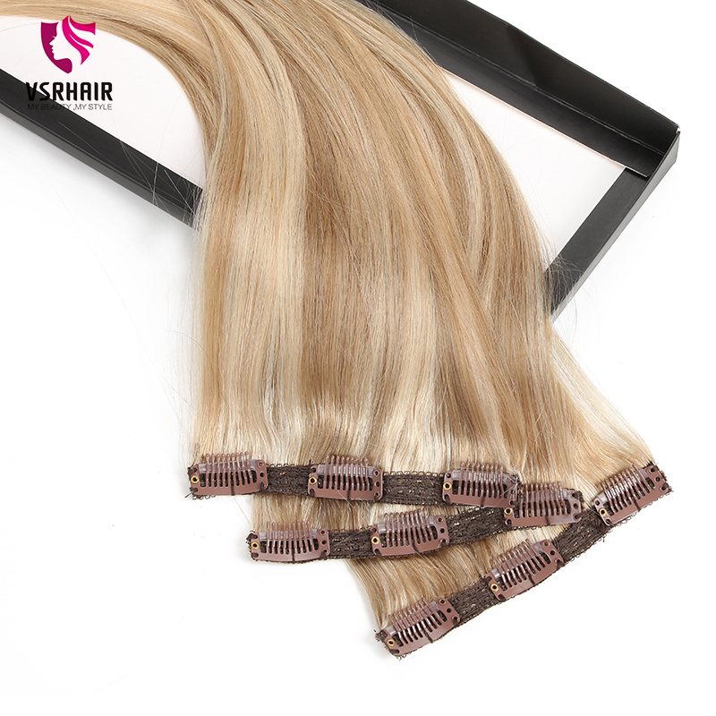 VSR Remy Extension Hair Human Clip In Hair Style 3pcs Machine Made Clip In Hair Extensions