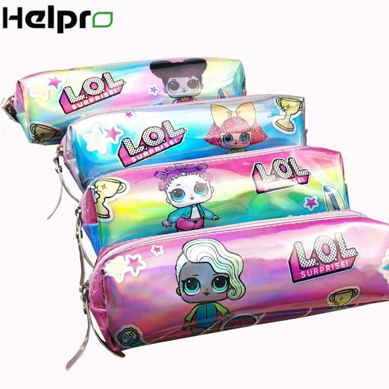 HELPRO Cartoon Girl Laser Pencil Case Kawaii Quality PU School Supplies Cute Pencil Bag Stationery Gift Pencilcase
