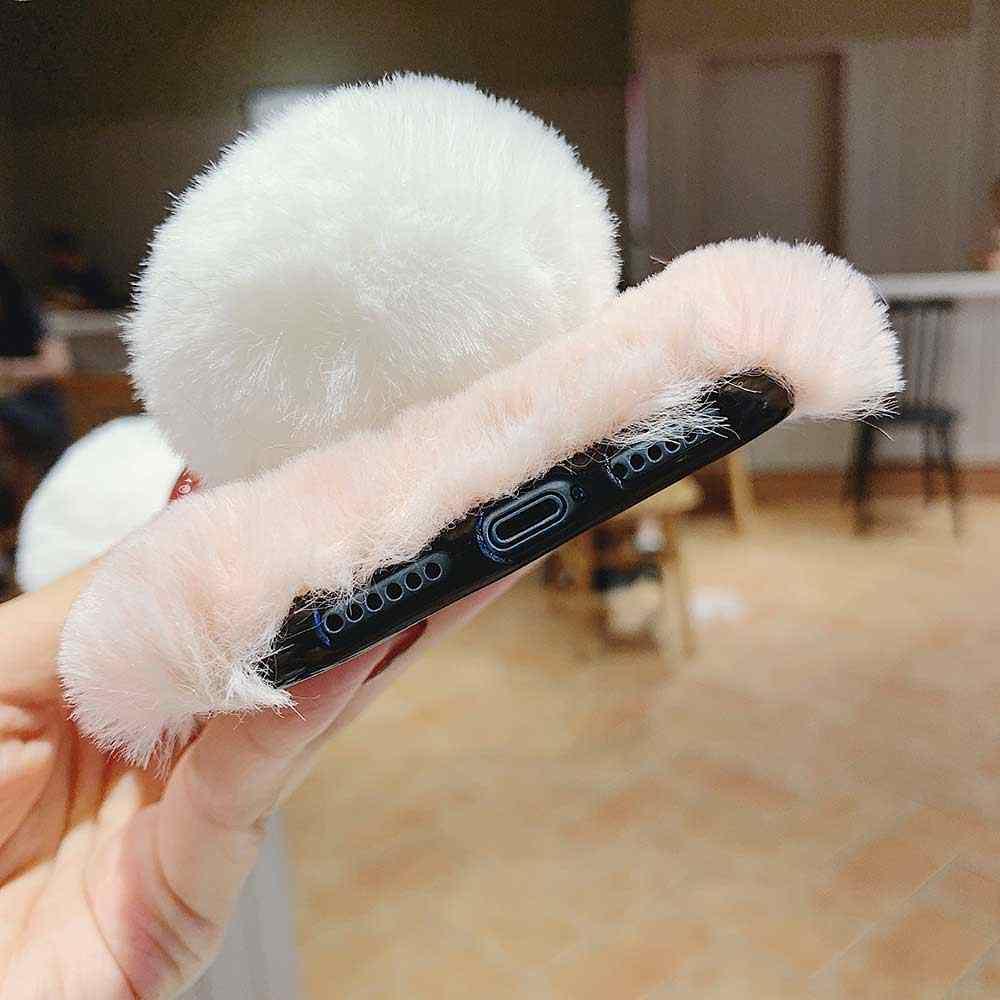 น่ารักการ์ตูน PANDA สำหรับ iPhone 11 Pro XR XS MAX X 6 6 S 7 8 Plus SE SE2 หรูหรา Fluffy Furry ซิลิโคนครอบคลุมสาวของขวัญ