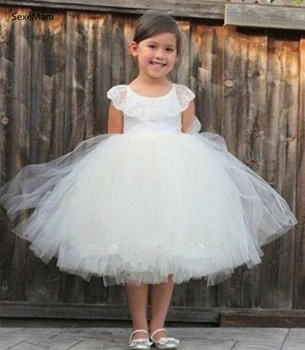Ivory White Puffy Tulle Flower Girl Dress for Wedding Knee Length Kids Clothes Children Birthday Party Gown