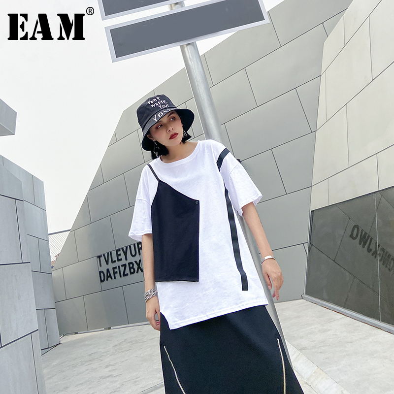 [EAM] Women White Split Joint False Two Big Size T-shirt New Round Neck Half Sleeve  Fashion Tide  Spring Summer 2020 1U068