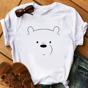 Fashion Bare Bears Cartoon Graphic Print T-shirt Women Harajuku Casual Female Tops Tee Funny Cartoon Short Sleeve Clothes