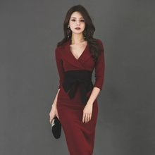 Solid Sheath Bodycon Wrap Dress Women Half Sleeve Office Work Dress for Ladies with Sashes Autumn Winter Women Dress Plus Size large size print plaid autumn winter dress women with sashes double button mini wrap dress women long sleeve office work dress