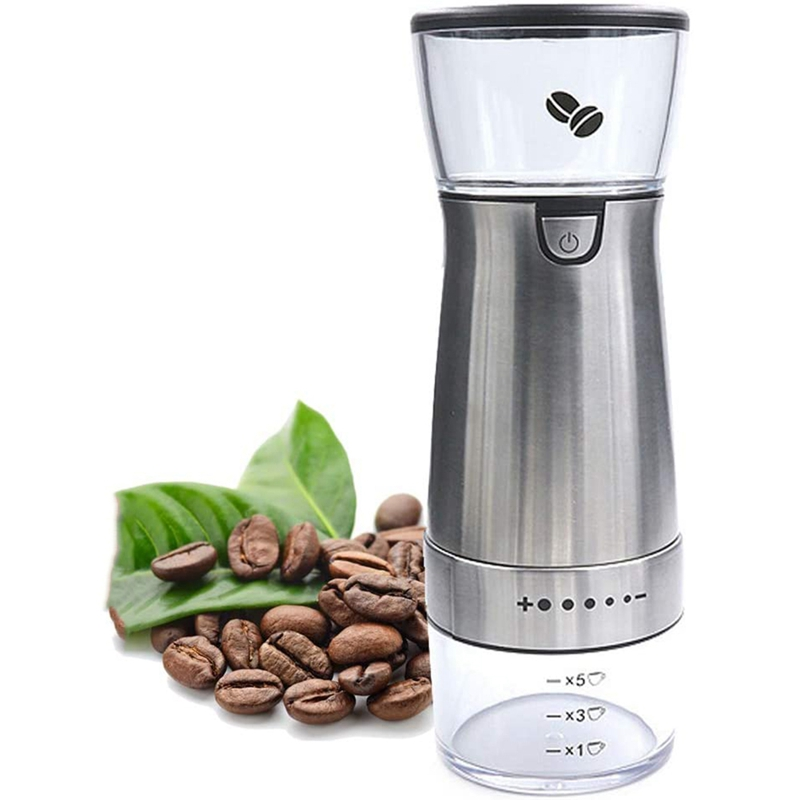 Electric Handheld Coffee Grinder Burr Portable Rechargeable Burr Grinder with Adjustable Coarseness Grind Settings