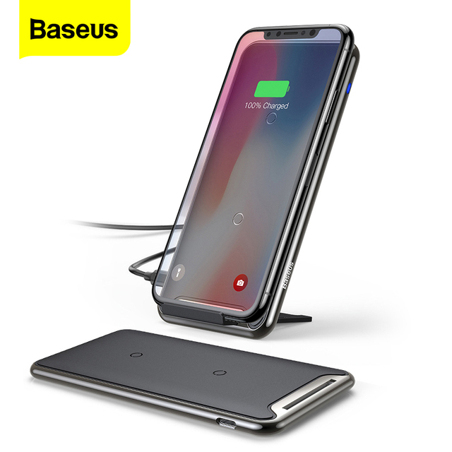 Baseus 10W QI Wireless Charger For iPhone 11 Pro Xs Max Samsung S10 Xiaomi Mi 9 Fast Wireless Charging Pad Docking Dock Station