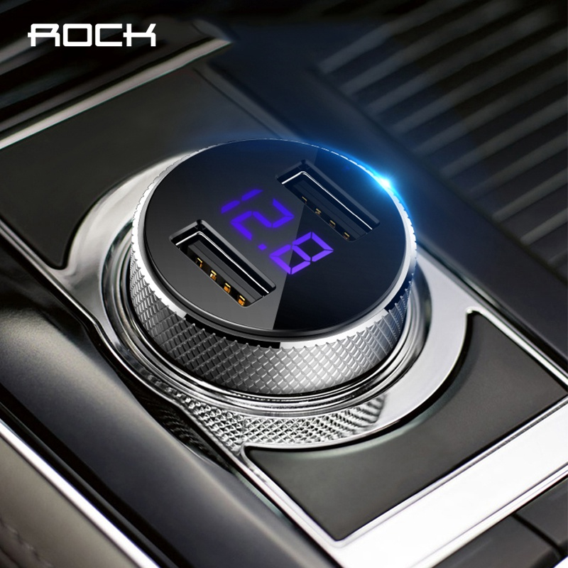 ROCK Mini Dual USB Car Charger LED Display Universal 3.4A Mobile Phone Tablet Fast Charging Usb Charger for Car 2 Usb Adapter-in Car Chargers from Cellphones & Telecommunications