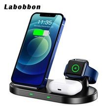 Labobbon Qi 15W Fast Charging Dock Wireless Charger 3 in 1 Stand For iPhone 12/11/XS/XR/X/8/8 Apple iWatch 6/5/4/3 AirPods Pro