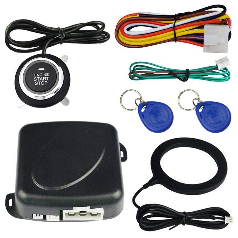 Auto Car Alarm Engine Push Button Start Stop RFID Lock Ignition Switch Keyless Entry System Starter Anti-theft System