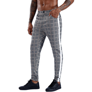Image 4 - Pantalon slim à carreaux pour hommes, Streetwear à la mode, survêtement pour hommes, jogging serré, collection 2020