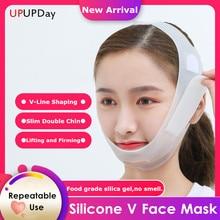 Novo nano silicone v máscara facial levantamento v linha forma face lift up facial emagrecimento bandagem máscara bochecha queixo pescoço emagrecimento cinto fino
