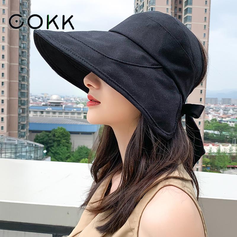 COKK Sun Hat Summer Women Ponytail Visor Wide Brim Uv Protection Bow Beach Hat Yellow Ladies Sunhat Ladies Hats Foldable Gorro