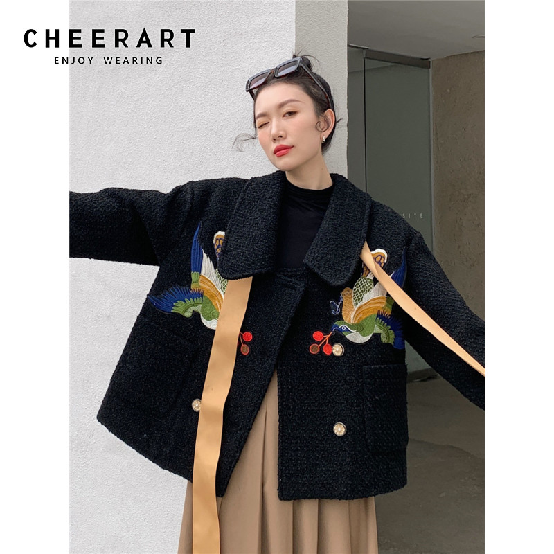 CHEERART Designer Wool Coat Women Bird Embroidered Coat Ribbon Black Tweed Jacket Fashion 2021 Kawaii Outerwear Korean