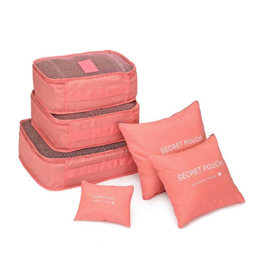6 Pcs/set Nylon Packing Cubes Set Travel Bag Organizer Large Capacity Travel Bags Hand Luggage Clothing Sorting Bolsa De Viaje.