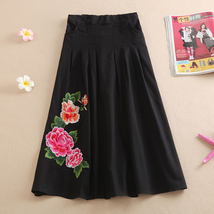 2019 Spring And Summer New Style Ethnic-Style WOMEN'S Dress Cotton Linen Skirt Chinese-style Embroidery Big Hemline Longuette Sk