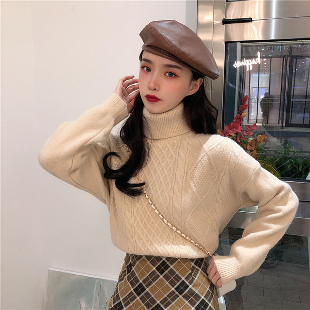 Ailegogo New Women Spring Turtleneck Pullovers Casual Female Knitted Loose Fit Sweater Retro Solid Color Ladies Knitwear Tops 4