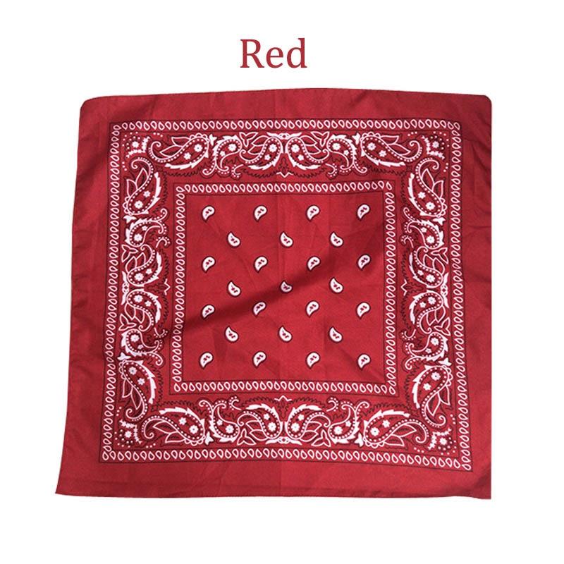 55 см* 55 см, унисекс, черная бандана, модный головной убор, повязка на голову, шейный шарф, повязки на запястье, квадратные шарфы, платок с принтом, Прямая поставка - Цвет: Red