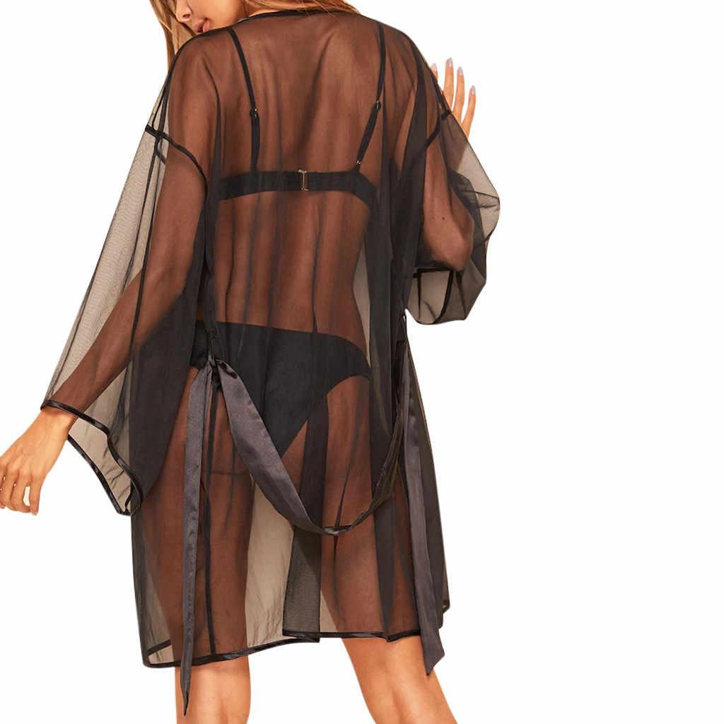 נשים סקסי תחרת הלבשה תחתונה Nightwear הלבשת פיג 'מה גבירותיי נשים סקסי שקוף כתונת לילה דק חלוק רחצה צמוד
