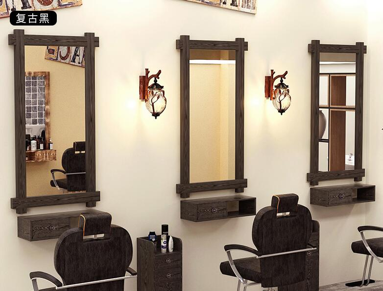 Barber's Mirror, Solid Wood Retro Dressing Table, One-sided Low-cost Barn Clearing Wall Hanging Hairdressing Salon, Special Hair