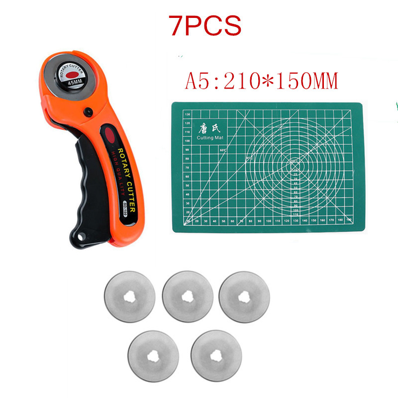 45mm aperto conforto cortador rotativo tecido auto cura esteira de corte conjunto com 5 lâminas extras para o trabalho remendo costura diy acessório