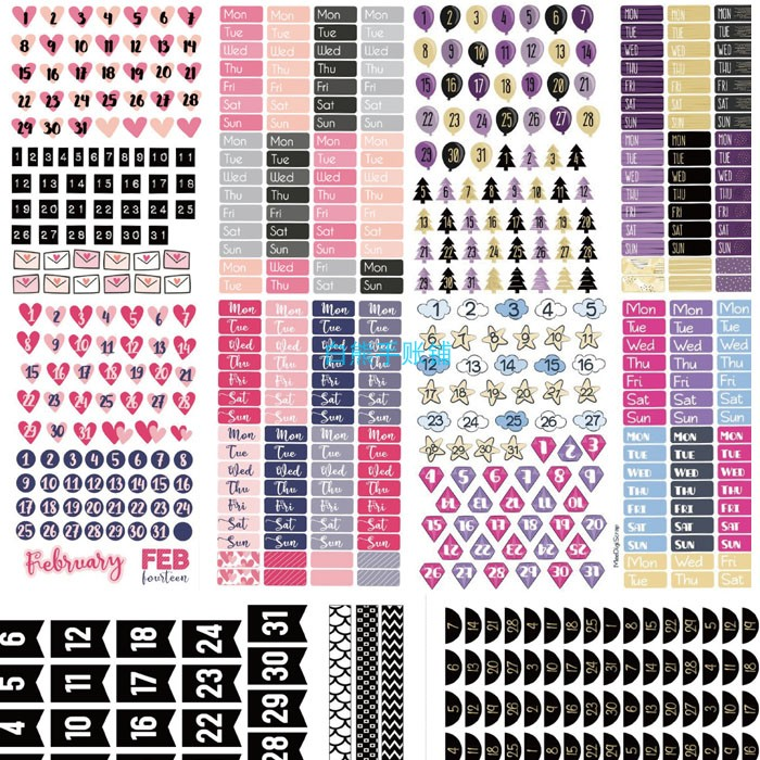 Vintage English Black And White Daily\Weekly\Monthly\Pink Cute Digital Love Month Basic Plan Sticker