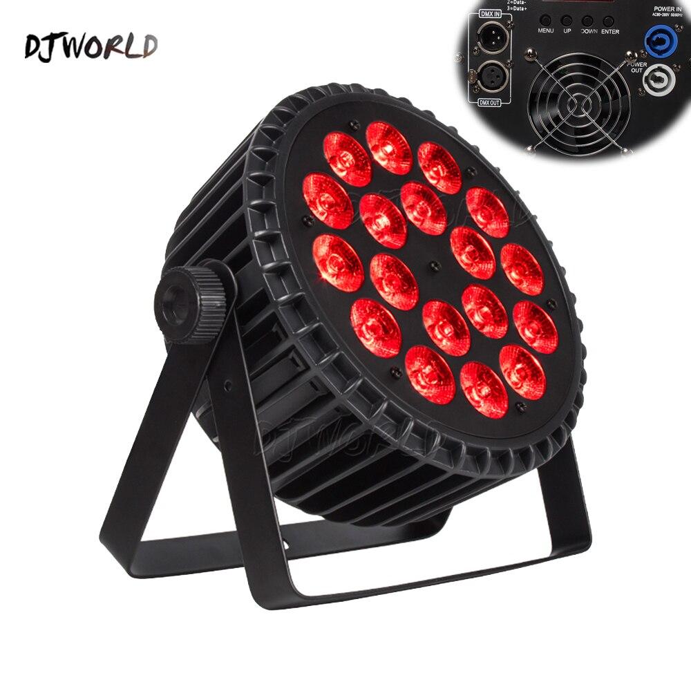4 ชิ้น/ล็อตอลูมิเนียม LED PAR 18X18 W RGBWA + UV สีแสง DMX512 ช่องสำหรับกิจกรรมดิสโก้ปาร์ตี้ไนท์คลับห้องบอลรูมเ...