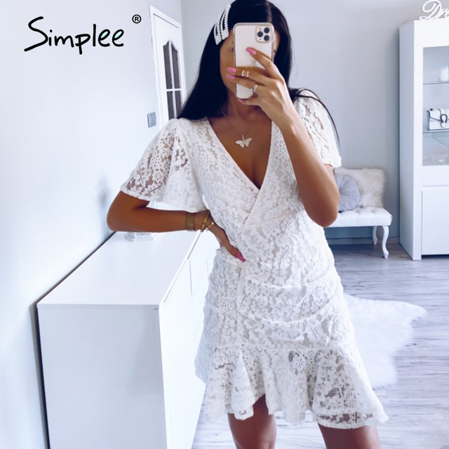 Simplee Women summer lace dress Sexy v neck floral summer cotton white dress A line ladies chic spring drawstring party dress