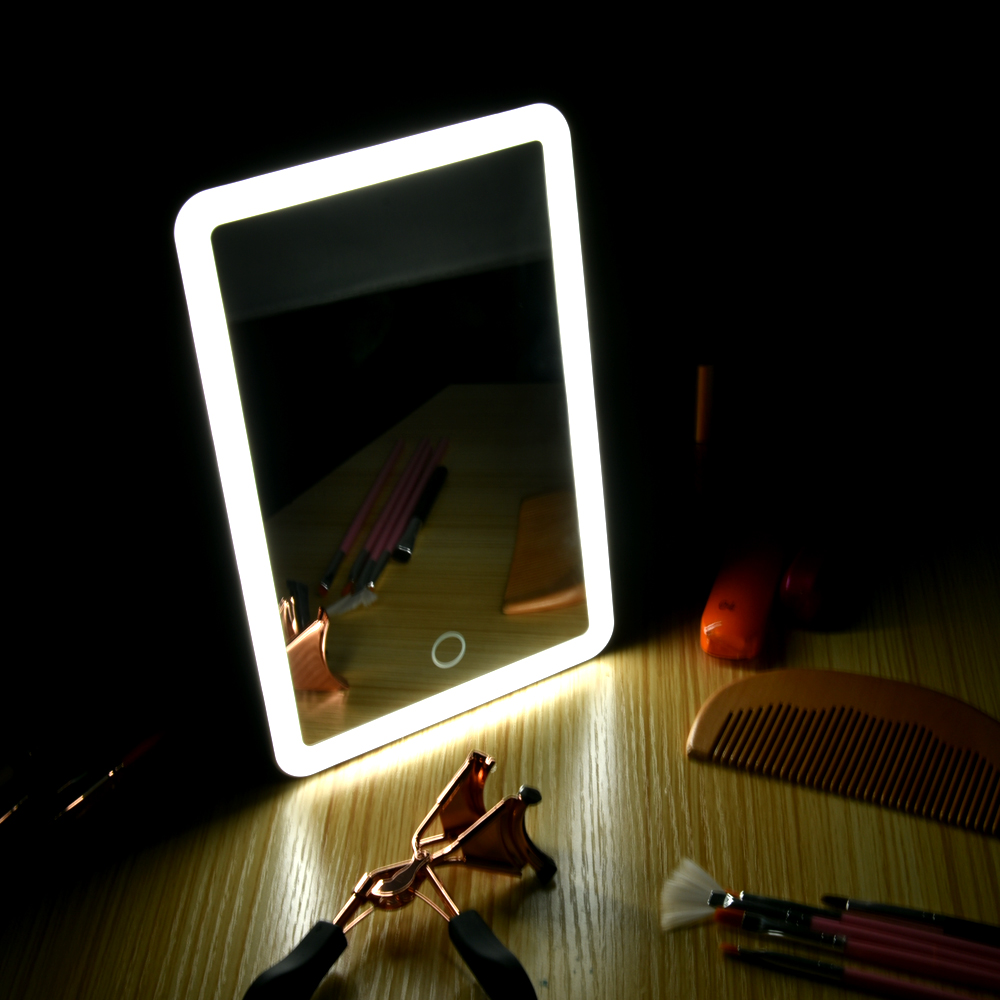 Lighted Makeup Led Mirror Travel Vanity Mirror With Lights USB Charging Light Table Cosmetic Mirror With Touch Screen Switch