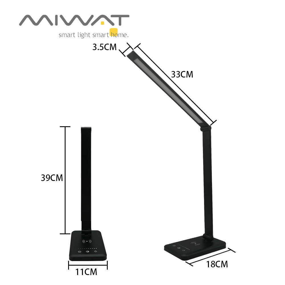 Светодиодный настольный светильник с сенсорным USB перезаряжаемый беспроводной зарядкой QI офисная настольная лампа 5 Вт складной настольный светильник с затемнением настольная лампа для чтения