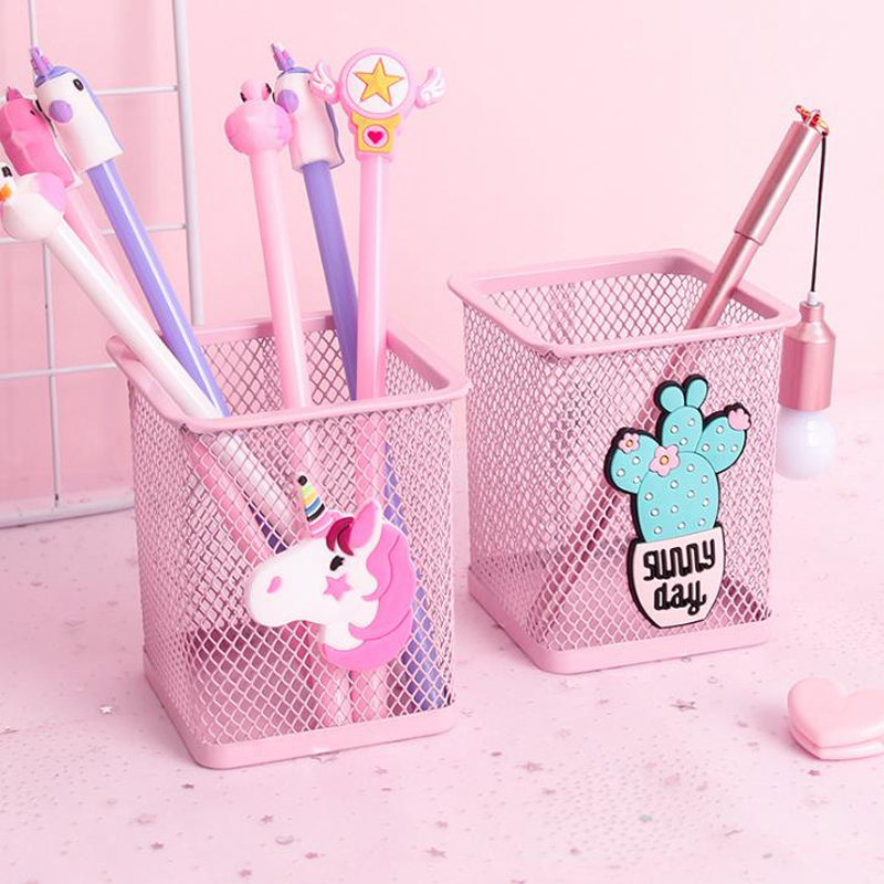 1 Pcs Novelty Pink Unicorn Cactus Flamingo Square Stationery Storage Box Manage Case Pencil Pen Holders Stand Student Stationery