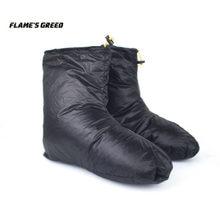 Flame's creed saco de dormir acessórios ganso para baixo chinelos acampamento ao ar livre meias quente resistente à água disponível