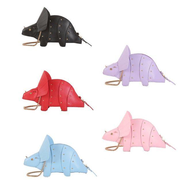 نساء موضة ديناصور شكل بولي Leather جلد برشام سلسلة Crossbody حقيبة كتف فتاة حقيبة ساع محفظة صغيرة مخلب