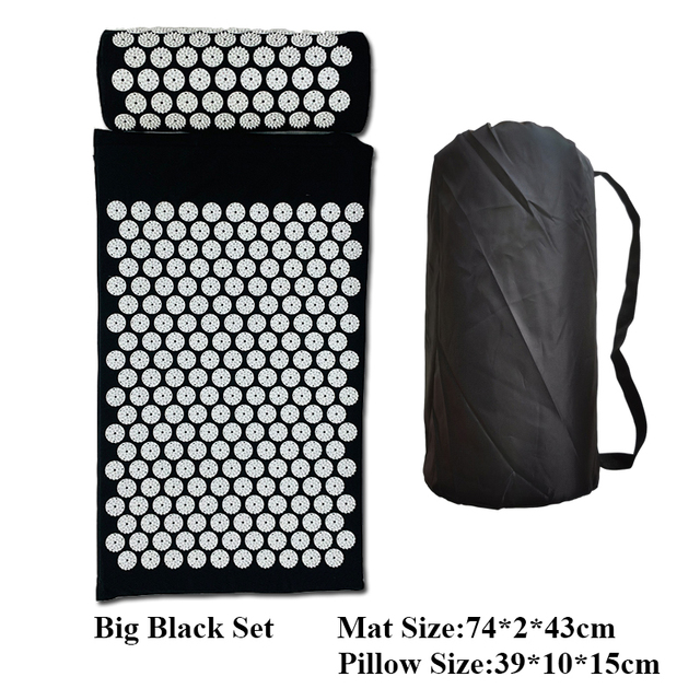 74X2X43cm Massager Large Cushion Massage Mat Relieve Stress Back Body Foot Pain Spike Yoga Mat Acupressure Mat with Pillow 4