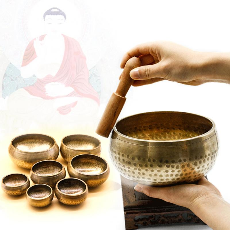 Tibetan Sing Bowl Nepalese Buddhist Meditation Gong Zen Yoga Bowl Sound Therapy Bowl Copper Religion Carft With Wodden Stiker