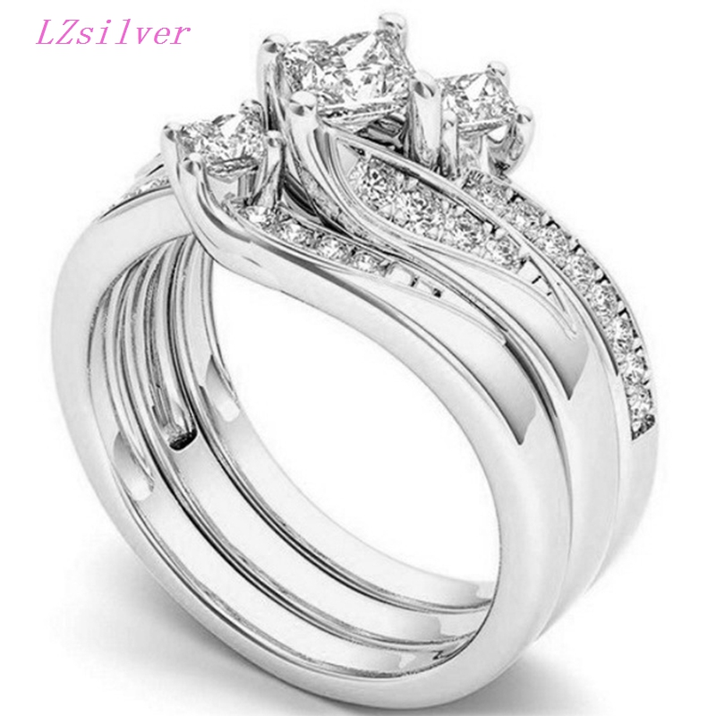 9pcs Exquisite Fashion Alloy Inlaid Zircon Rings Anniversary Gift