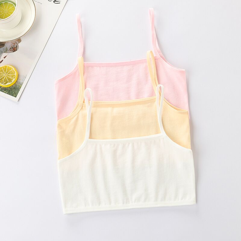 4Pc/lot Girls Bra Underwear Lingerie Kids Teens Teenage Young Adolescente Student Cotton Double Deck Solid Color 8-12Years 6