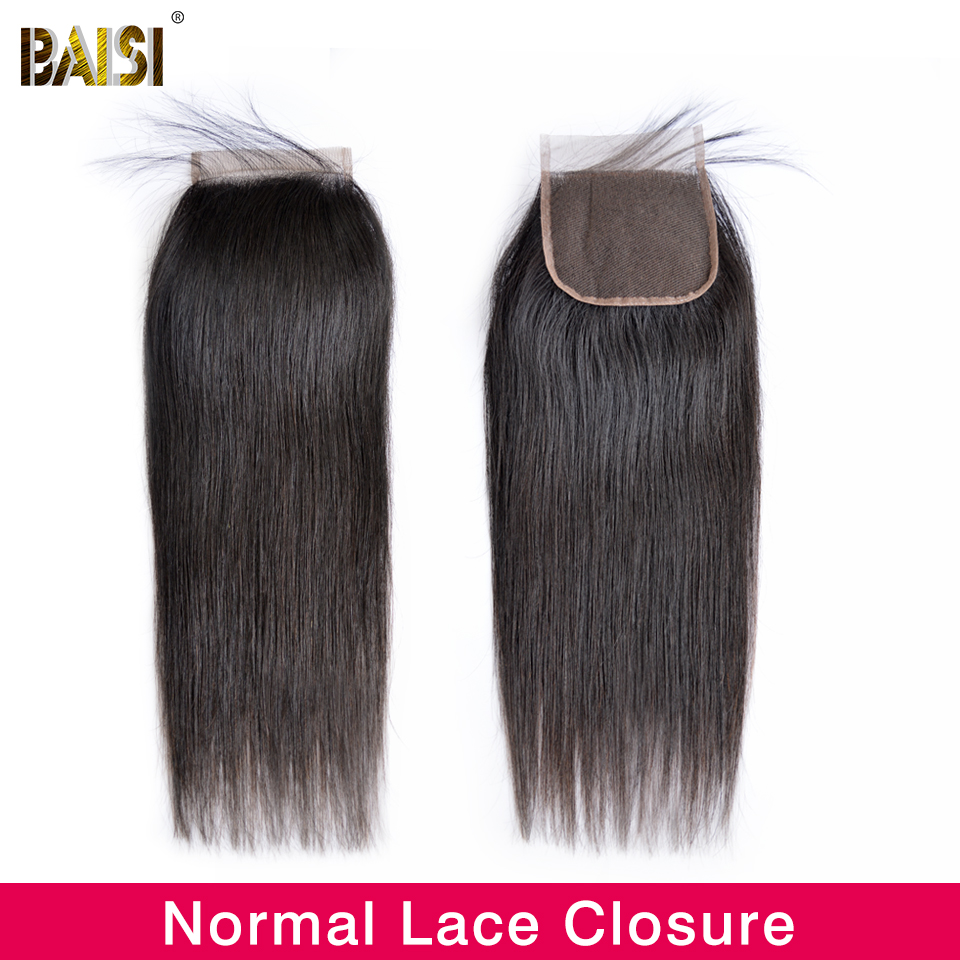 Image 2 - BAISI Hair Peruvian Straight Swiss Lace Closure 4x4 Middle Part Free Part Three Part 100% Human Hair-in Closures from Hair Extensions & Wigs