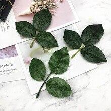 10 PCS cheap artificial silk green leaf flower piece wedding home decoration DIY wreath gift box clip art simulation