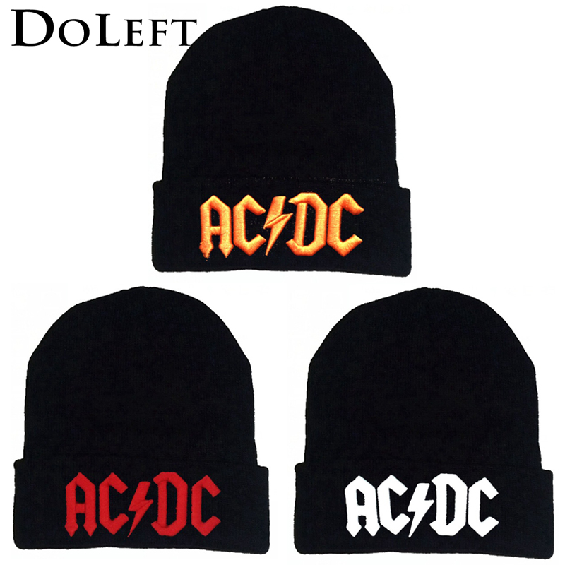 2019 Winter ACDC Embroidery Beanie Hats Women Men Cool Black Warm Ski Hat Outdoor Hip Hop Hats Unisex Knit Skullies Bonnet