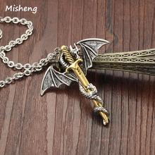 Misheng 2019 Mens Stainless Steel Necklace Brave and Dragons Hip Hop 50cm Pendant Trend Brand Accessories