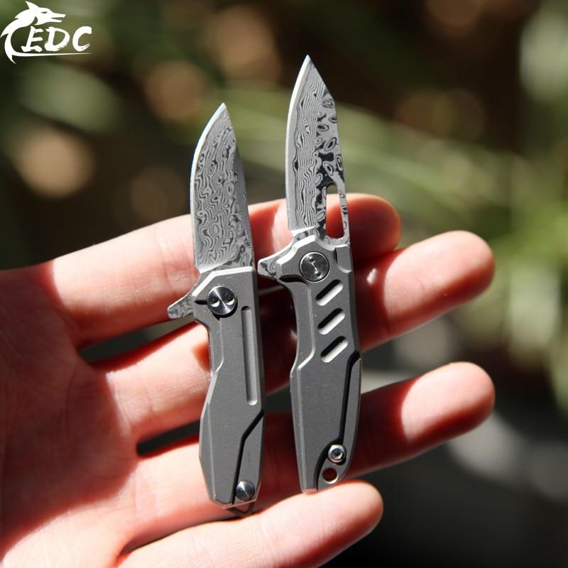 A201 دمشق سبائك التيتانيوم TC4 متعددة الوظائف مفتاح سكين EDC Mini Express خارج صندوق أداة سكين صغير