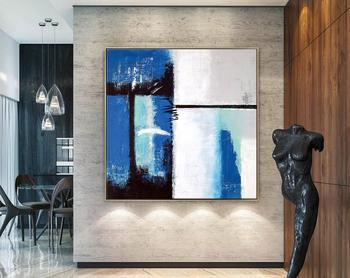 Абстрактная живопись Большой акриловый холст настенная живопись на холсте Janus Expressionism Современная оригинальная синяя и белая масляная живо
